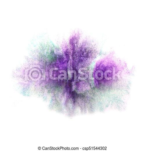 Tache, aquarelle, peinture eclabousse, vert, goutte, encre, violet ...