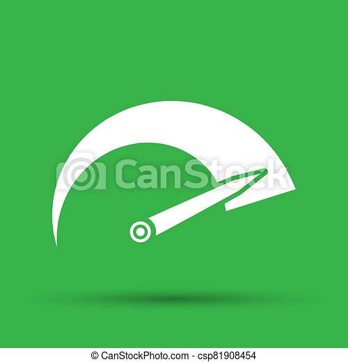 Tachometer icon on the green background - csp81908454