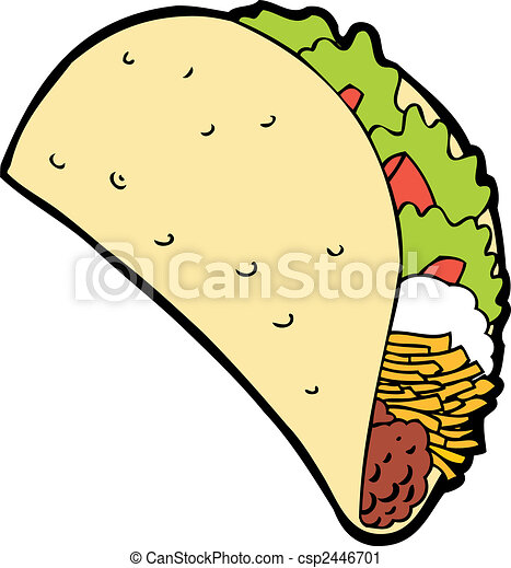 taco cartoon isolated on a white background image vector clip art rh canstockphoto com  taco tuesday clipart free