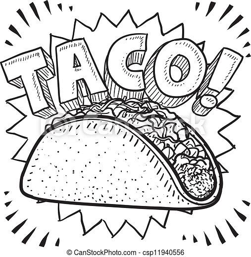 taco sketch doodle style mexican food taco sketch in vector format