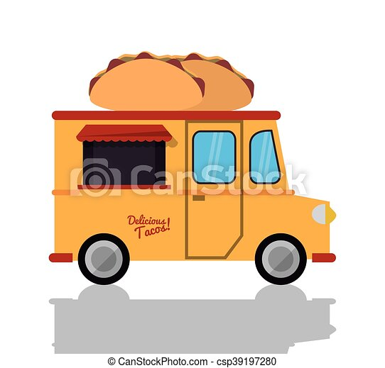 Taco Truck Fast Food Icon Vector Graphic
