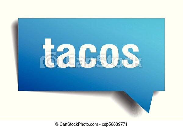 tacos blue 3d speech bubble - csp56839771