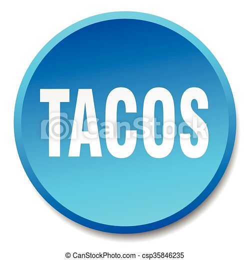 tacos blue round flat isolated push button - csp35846235