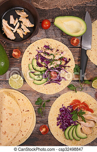 tacos with avocado, chicken and cabbage - csp32498847