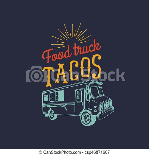 Vector Vintage Mexican Food Truck Iconretro Hand Drawn Hipster Street
