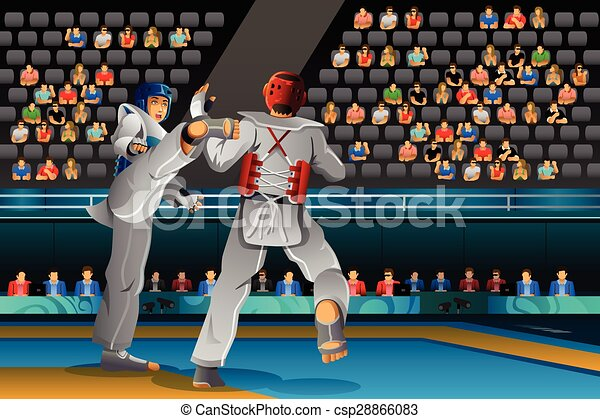taekwondo, 男性, 競争, 競争 - csp28866083