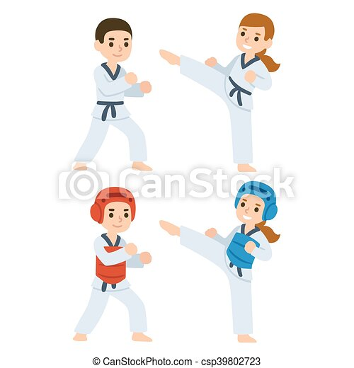 Taekwondo Cartoon Kids Boy And Girl Fighting In Kimonos And Taekwondo Uniform Martial Arts For Kids Illustration