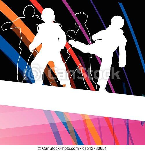 taekwondo, kunsten, gevecht, krijgshaftig, abstract, jonge, vecht, schoppen, vechters, illustratie, achtergrond, silhouettes, sportende, kinderen - csp42738651