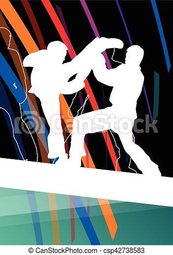 taekwondo, kunsten, gevecht, krijgshaftig, abstract, jonge, vecht, schoppen, vechters, illustratie, achtergrond, silhouettes, sportende, kinderen - csp42738583