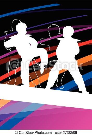 taekwondo, kunsten, gevecht, krijgshaftig, abstract, jonge, vecht, schoppen, vechters, illustratie, achtergrond, silhouettes, sportende, kinderen - csp42738586