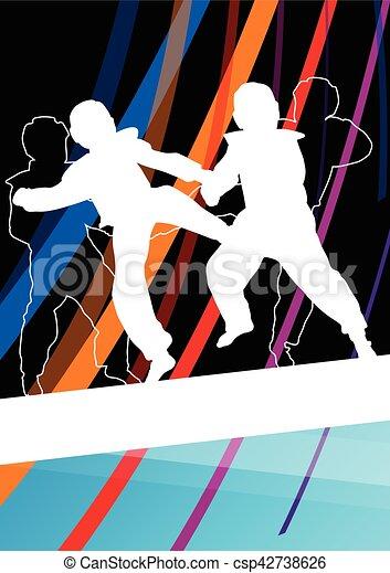 taekwondo, kunsten, gevecht, krijgshaftig, abstract, jonge, vecht, schoppen, vechters, illustratie, achtergrond, silhouettes, sportende, kinderen - csp42738626