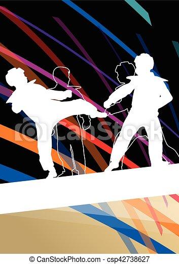 taekwondo, kunsten, gevecht, krijgshaftig, abstract, jonge, vecht, schoppen, vechters, illustratie, achtergrond, silhouettes, sportende, kinderen - csp42738627