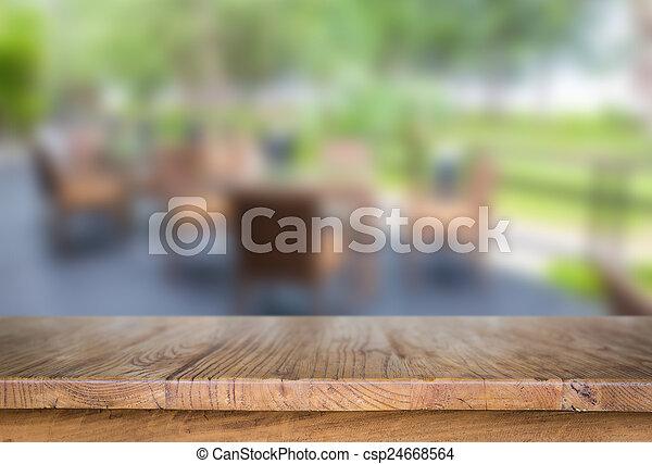 tafel, hout, restaurant - csp24668564