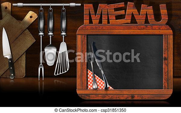 Tafel, menükarte, kueche . Altes , hölzern, tafel, rahmen, utensils ...
