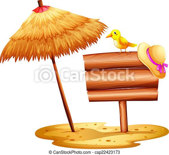 Sonnenschirm strand clipart  Tafel, sonnenschirm, leerer , improvisiert. Schirm, hintergrund ...
