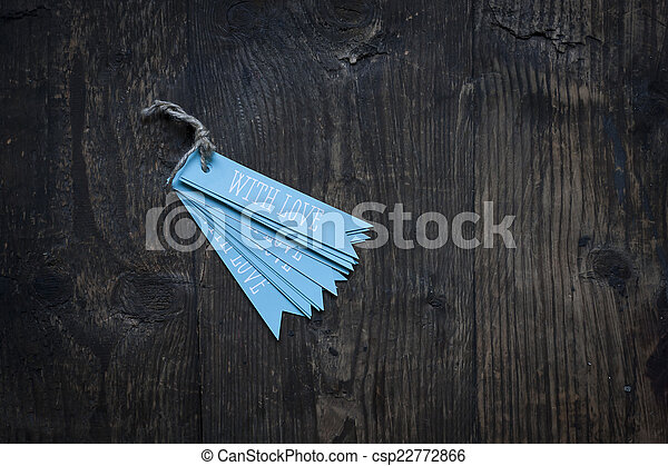 tag with love on wooden background - csp22772866