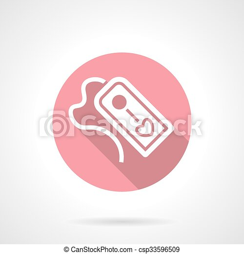Tag with love pink round vector icon - csp33596509