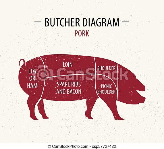 taglio, carne, shop., manifesto, negozi, macellaio, diagramma, drogherie, pork. - csp57727422