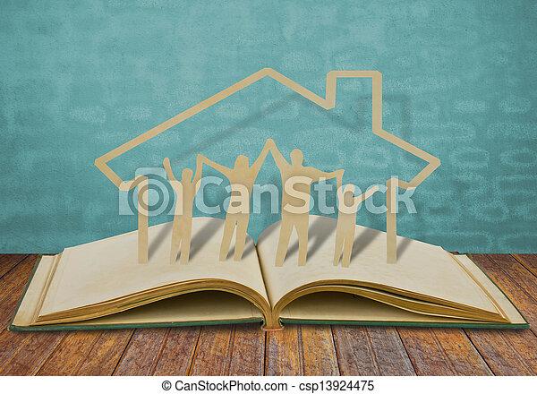 taglio, vecchio, famiglia, simbolo, carta, libro - csp13924475