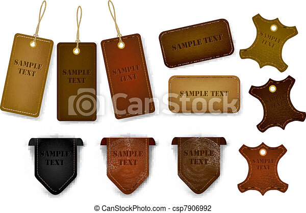 tags., ensemble, étiquettes, cuir, grand - csp7906992