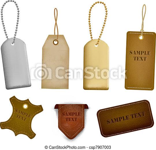 tags., ensemble, étiquettes, cuir, grand - csp7907003