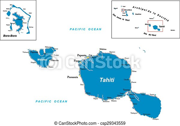 Tahiti and bora-bora map. Highly detailed vector map of tahiti and ...