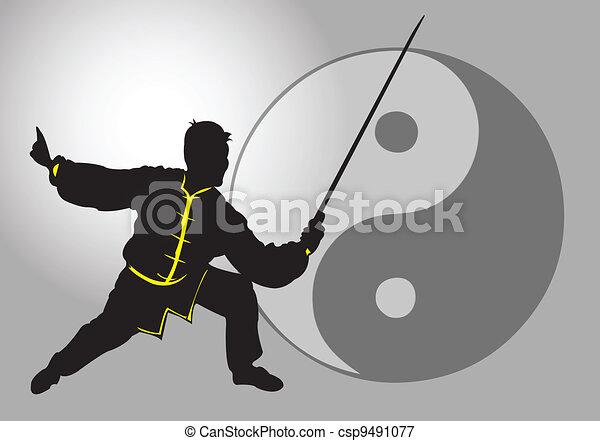 tai-chi., κινέζα  - csp9491077