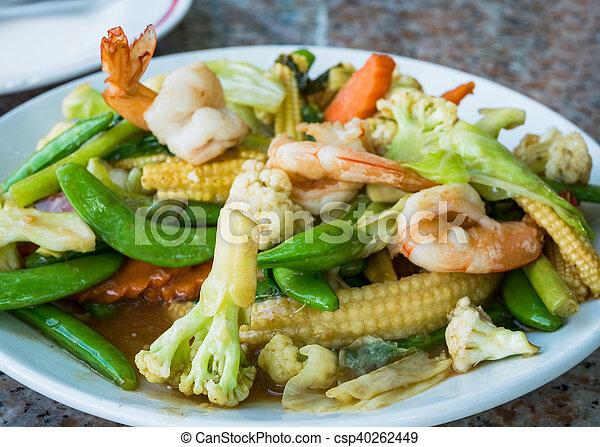 tailandés, frito, conmoción, alimento, vegetales - csp40262449