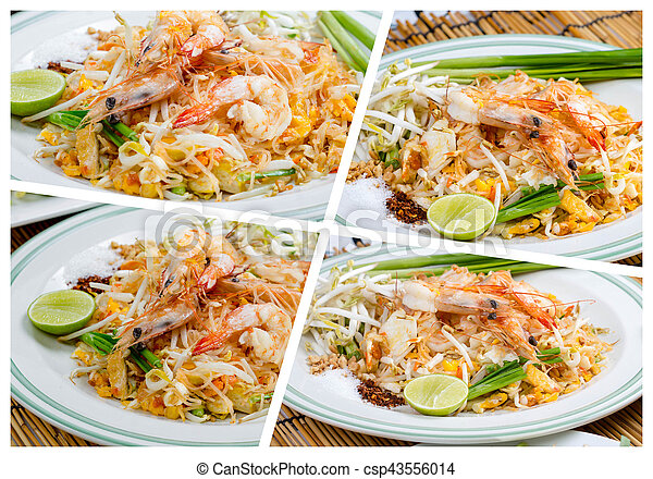 tailandés, frito, tallarines - csp43556014