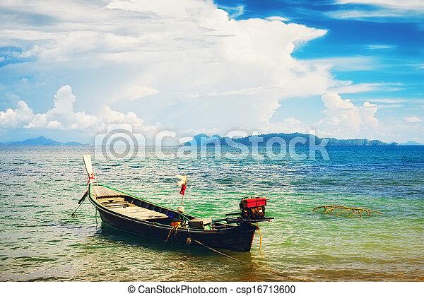 tailandés, largo, barco - csp16713600