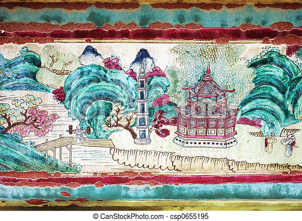 Pintura asiática en un templo en Tailandia - csp0655195