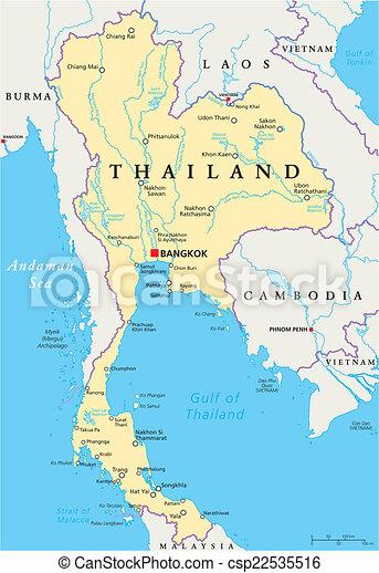 Mapa Politica De Tailandia Con Capital Bangkok Fronteras