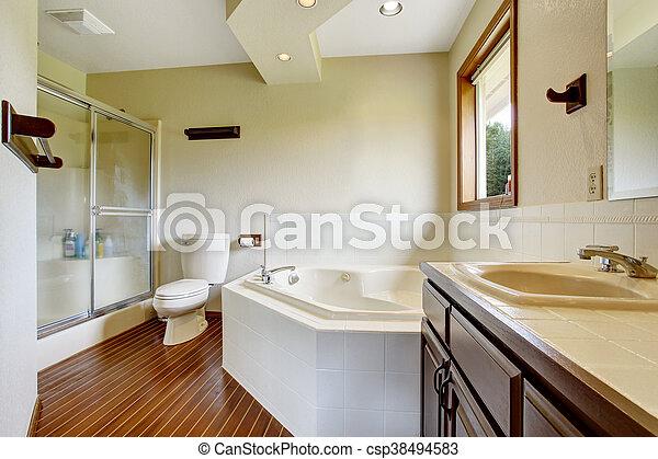 Tailler, plancher salle bains, bois dur, douche, verre, intérieur ...