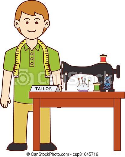 tailor doodle cartoon design illustration