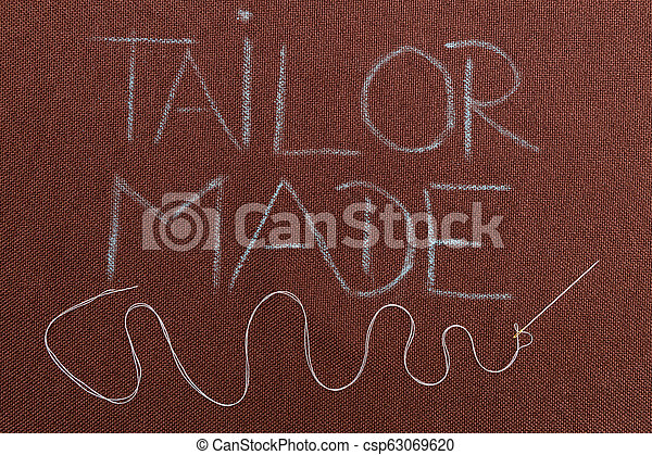Tailor made text underlined with winding thread in needle - csp63069620