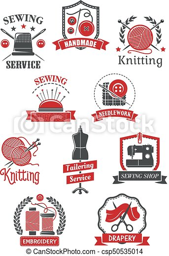 Tailor Sewing Shop Symbols For Handmade Design Tailor And Sewing