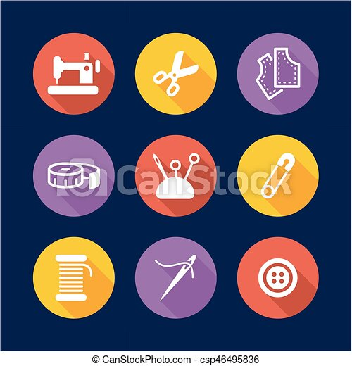 Tailor Shop Icons Flat Design Circle - csp46495836