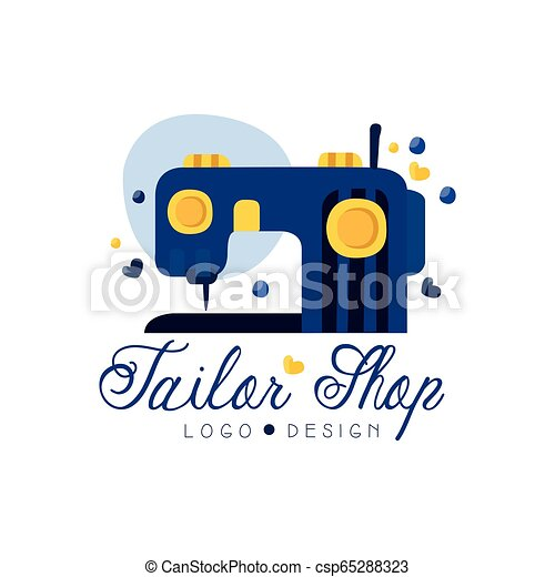 Tailor Shop Logo Design Emblem With Sewing Machine Fashion Designer Company Dress Boutique Store Label Vector