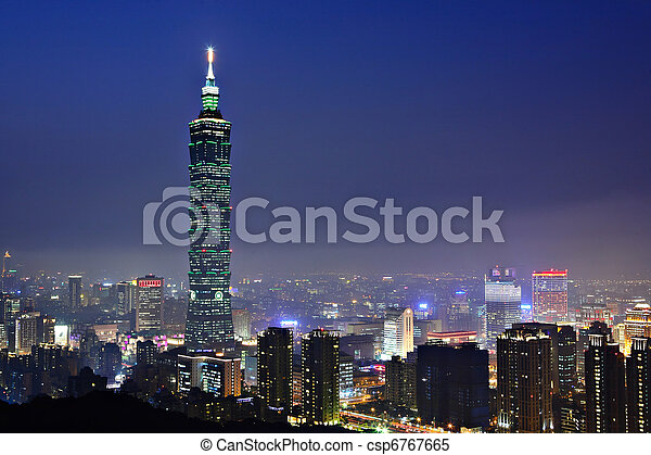 taipei city night scene - csp6767665