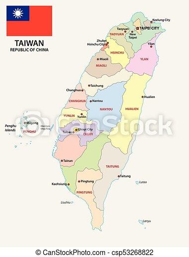 Taiwan administrativ and political map with flag - csp53268822