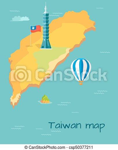 Taiwan map high taipei flag of island balloon Taiwan map
