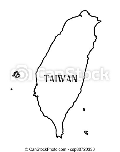 Taiwan Outline Map Outline Map Of The Chinese Rebublic Of Taiwan Over A White Background