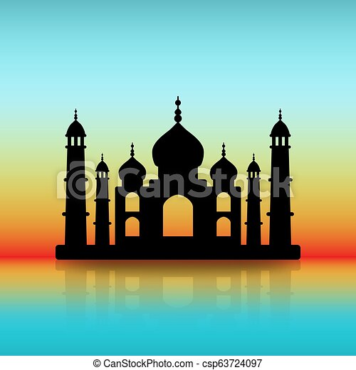 Taj Mahal Black Silhouette On Dawn Sky