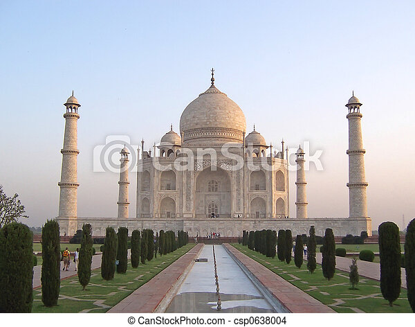 Taj Mahal front view with the water cannal, Agra, India - csp0638004