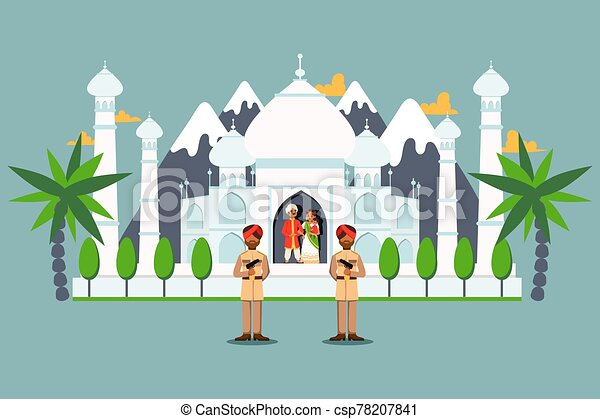 Taj Mahal Guarded By Soldiers Indian Royal Family Under Protection People Vector Illustration Taj Mahal Guarded By