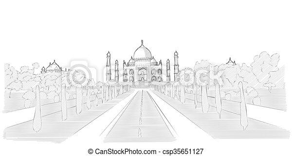 Taj Mahal hand drawn sketch - csp35651127