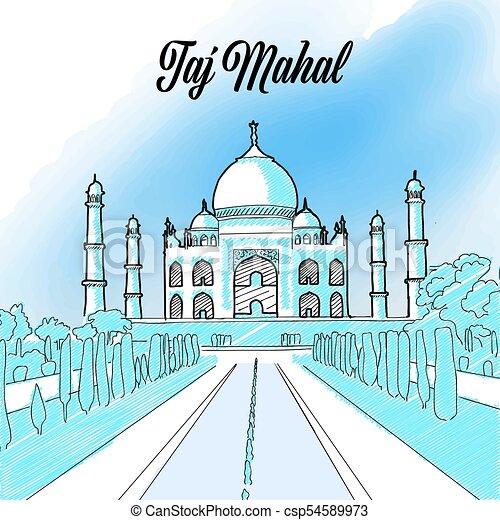 Taj Mahal Landmark Sketch - csp54589973