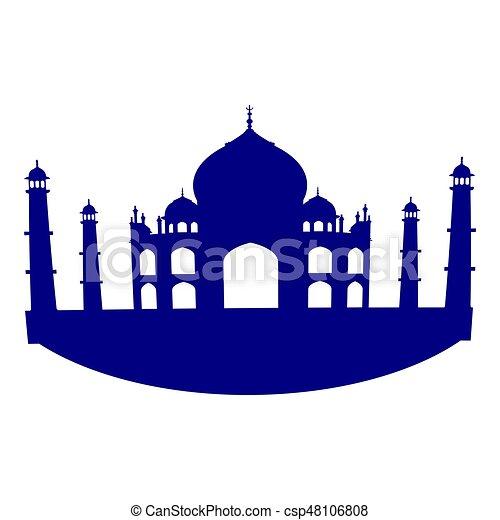 Taj Mahal silhouette - csp48106808