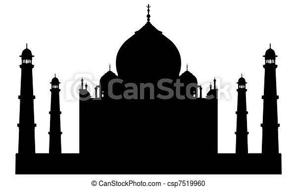 Taj mahal temple silhouette - csp7519960