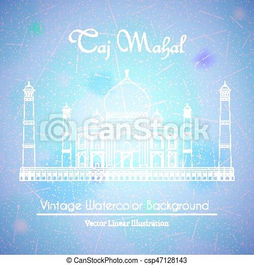 Taj Mahal Temple Watercolor Background - csp47128143